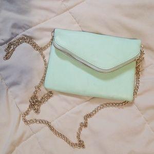Handbags - Cute mint purse with gold chain